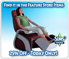massage chair store. day 18 of the holiday countdown brings you 25% off sharper sim foot massage chair! find it in game or store for 300 simpoints. chair r