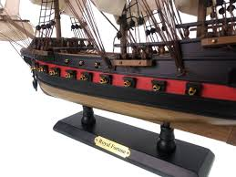 wooden black bart s royal fortune white sails limited model pirate ship 26