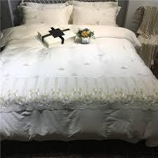 white romantic golden lace edge 60s egyptian cotton bedding set duvet cover bed linen bed sheet pillowcases queen king size blue and white duvet cover