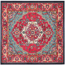safavieh monaco red turquoise 7 ft x 7 ft square area rug