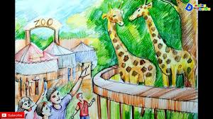 zoo drawing. Plain Zoo How To Draw Zoo Scenery For Kids With Zoo Drawing