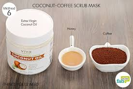 things needed to make coconut coffee scrub mask for glowing skin