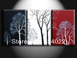 red black home office. Abstract Wall Tree Black White Red Oil Painting Canvas Landscape Home Office Art Decor Handmade A