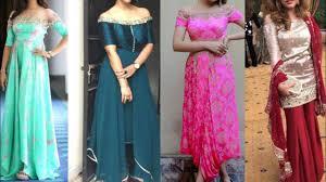 Off Shoulder Designer Suits Latest Off Shoulder Dresses Design Ideas Party Wear Dresses Collection Off Shoulder Kurta Gown