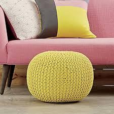 Yellow Knit Pouf