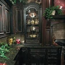 antique black kitchen cabinets. Distressed Black Kitchen Cabinets With Granite Countertop And Plant Pots Suave Antique H