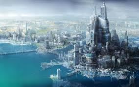 sci fi city of future wallpaper