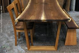 raw edge dining table. Black Walnut Live Edge Dining Table And Bench On Cherry Trapezoid Legs With R.H. Yoder Raw
