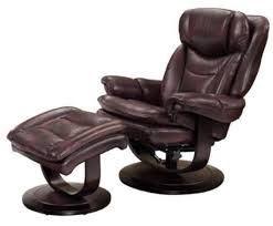 barcalounger roscoe mahogany leather pedestal recliner chair w ottoman