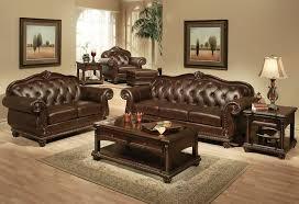 Affordable Brown Leather Sofa Sets With Beautiful Brown Painted Wall And  Wall Pictures For Small Living Room Spaces