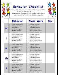 Performance Chart For Students My Weekly Behavior Checklist For Students Social And