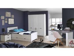 Schlafzimmer Gaston 62 Weiß Grau 6 Teilig Jugendzimmer Schneeeiche