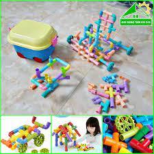 Đồ chơi xếp hình dạng ống nối kèm hộp đựng có bánh xe cho bé thỏa sức sáng  tạo | Bộ ghép hình đường ống