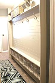 narrow entryway furniture. Narrow Entryway Furniture White Wooden Bench With Steel Hooks And Rattan . P