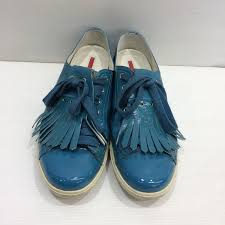mikunigaoka 241534 rm844t made in prada prada sneakers patent leather shoes bluish green system shoes
