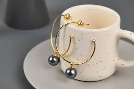 <b>Серьги</b>-<b>кольца с черными</b> жемчужинами, Possebon