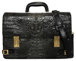 crocodile caiman 2way crocodile leather briefcase business bag black black business case men zouk local people