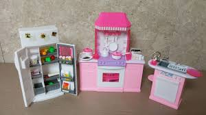 mini doll furniture. Unboxing Barbie Kitchen Set By Gloria - Size Dollhouse Furniture Mini Doll YouTube A