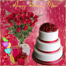Happy Birthday Mom Cake Flower Bouqet And Gifts Gif Rechercher