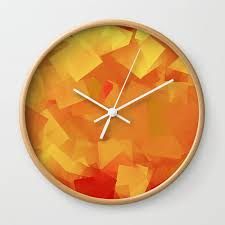cubism in orange wall clock by