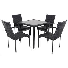 black modena rattan wicker dining table with 4 chairs