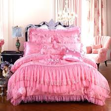 glitter bedding sequin comforter girls hot pink romantic sweetheart rose pattern ruffle and lace design princess