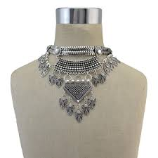 2019 gypsy tribal tibet silver leaf pendant collar choker bib statement necklace crystal tassel chunky necklace maxi indian jewelry from jerry163