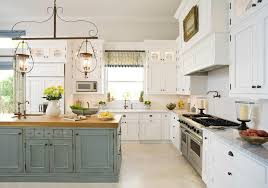 painted kitchen islandsEnchanting Distressed Turquoise Kitchen Island and White Painted