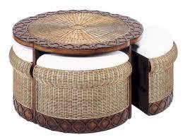 furniture round ottoman coffee table beautiful wicker woven unique ta