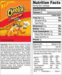 snack nutrition healthy fundraising solutions regarding hot cheetos food label 27397