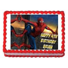Spiderman Party Edible Cake Decoration Image Cake Topper Frosting