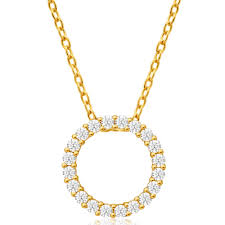 cubic zirconia circle of life pendant in 9ct yellow gold image a