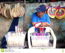 Street Variety 75828151 Image Colorful Photo Editorial - Vendor Sells Hand A Fans Province Of Philippines
