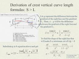 derivation of crest vertical curve length formulas s l