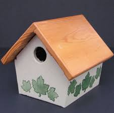 Birdhouse Stencils Designs Painted And Stenciled Wren Birdhouse Bird Houses Outside