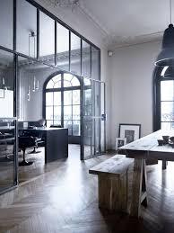 industrial office flooring. Vintage Industrial Office, Black Oversized Windows, Rustic Seating + Table, Herringbone Wood Floors. | Jenn Pinterest Herringbone, Wooden Office Flooring