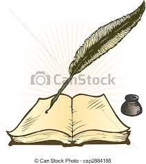 quill ink pot and open book vector ilration with e for text