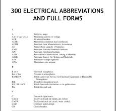 Circuit Breaker Amp Chart 300 Electrical Abbreviations And Full Forms Electrical 2z