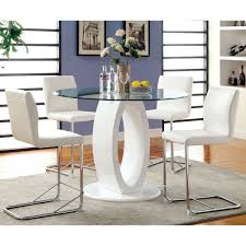 Furniture of America Ol te Contemporary High Gloss Round Dining