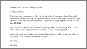 Offer Acceptance Email Sample How To Write A Job Acceptance Letter Samples