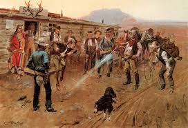 charles rus 1900 painting repo 45 pistol wild west southwestern art big