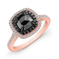14k rose and black gold double halo rose cut black diamond center enement ring
