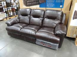adorable dark brown costco leather couches spectra mckinley leather power motion sofa with round ottoman combined