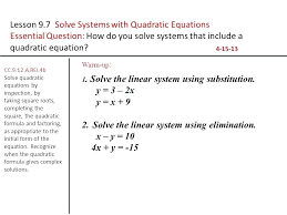quadratic equations solution math lesson solve systems with quadratic equations maths class 10 quadratic equation solutions