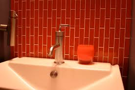 subway tile face off modwalls colorful modern since lush 1x4 sunset glass installed brick joint bathroom