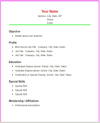 Simple Resume Templates. Format For Simple Resumes Template .