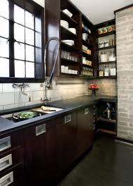 Industrial Kitchen Cabinets Awesome Retro Kitchen With Industrial Decoration Also Solid Black