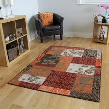Orange Rugs For Living Room Milan Brown Red Orange Beige Cream Patchwork Rug 1568 S22
