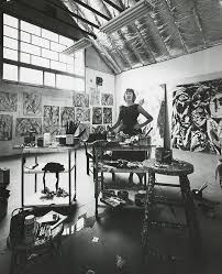 american abstract expressionist painter lee krasner 1908 1984 in her studio in east