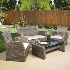 outdoor furniture decor. 4piece outdoor weather resistant wicker resin patio furniture set with cushions decor